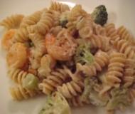 Alfredo-esque sauce with broccoli and shrimp goodness