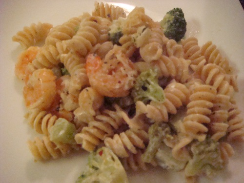 Alfredo-esque sauce with broccoli and shrimp goodness