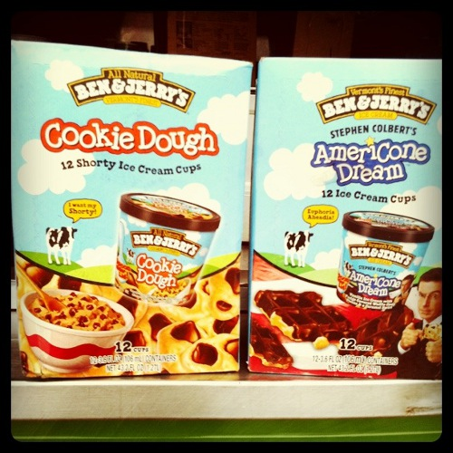and the mini cups of Cookie Dough and Americone Dream that we were ...