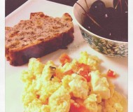Sunday: scrambled eggs with salsa, slice of walnut-raisin bread, and bowl of cherries