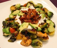 brussels sprouts with bacon shrimp and avocado