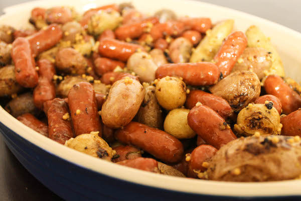 mustard roasted potatoes and sausages