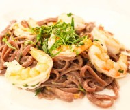 red wine pasta with shrimp and tarragon