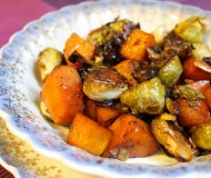 maple and cayenne brussels sprouts butternut squash
