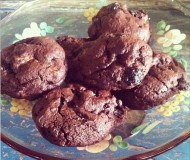 double chocolate cookies with brandy cherries