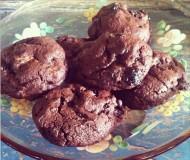 double chocolate cookies with brandy cherries