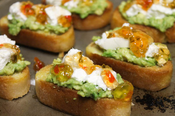 Goat cheese and avocado bruschetta with hot pepper jelly did sciox Images