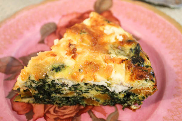 Egg, Spinach And Two Cheese Crustless Quiche Recipe — Dishmaps