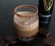 chocolate guinness beer float with salted dulce de leche sauce