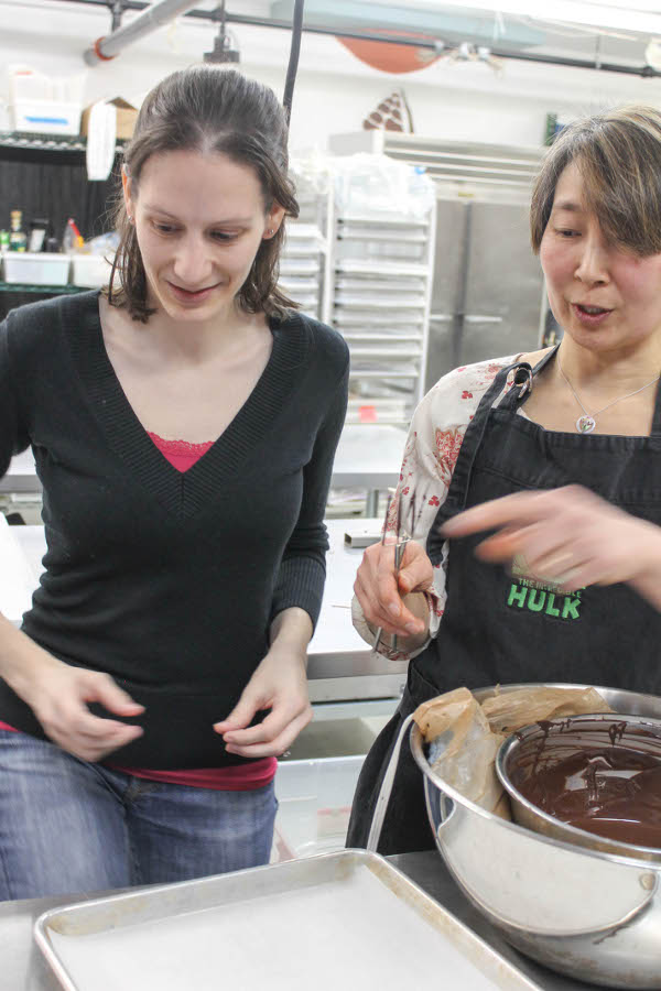 megan and elaine making chocolates