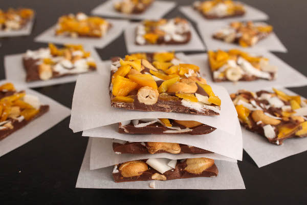 mango coconut chocolate bark