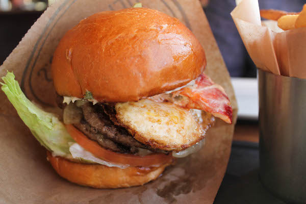 burger with egg and lobster
