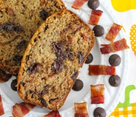 banana bread with candied bacon