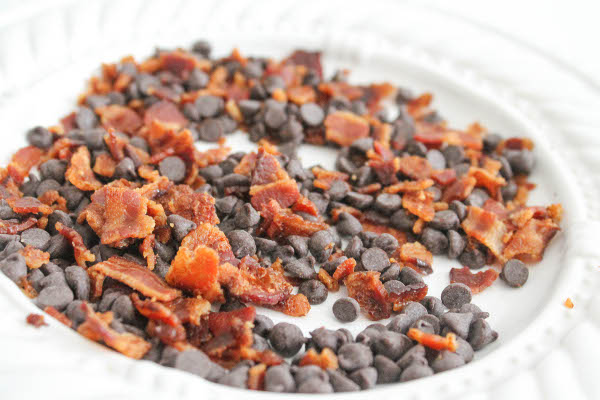 chocolate chips and bacon
