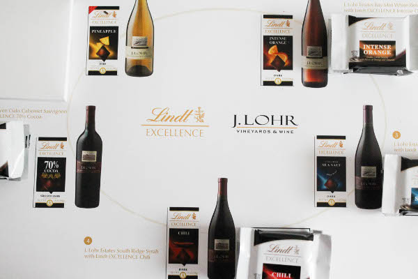 lindt placemat wine pairing