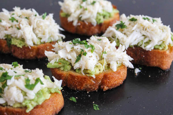avocado and crab crostini