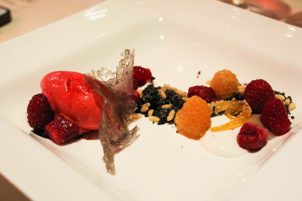 raspberry and coconut monica glass