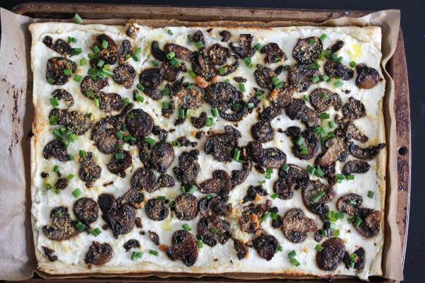 mushroom ricotta tart with truffle oil