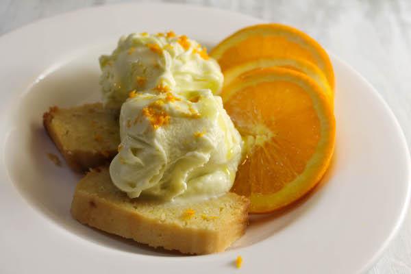 buttermilk rum cake with olive oil ice cream