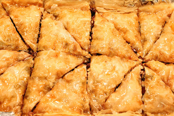 chocolate hazelnut baklava with orange blossom honey