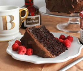 double chocolate cake slice
