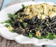 squid ink spaghetti with buttered crab and gremolata breadcrumbs