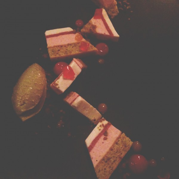 pistachio rhubarb white chocolate terrine