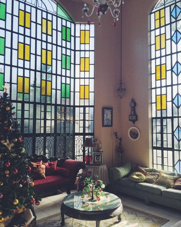 stained glass windows living room