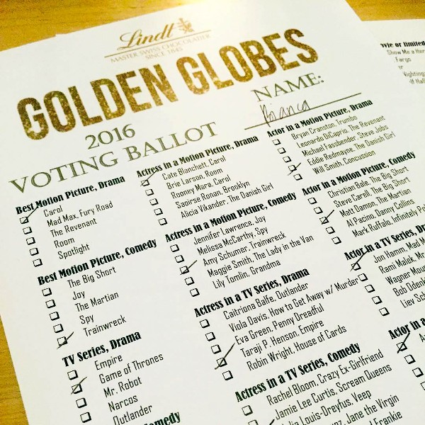 golden globes voting ballot lindt chocolate