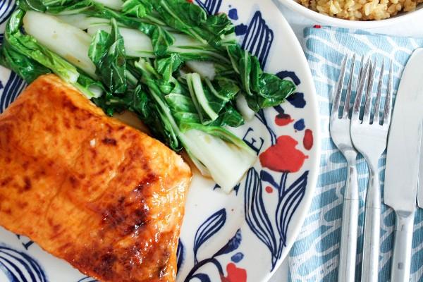 baked teriyaki salmon with bok choy and brown rice