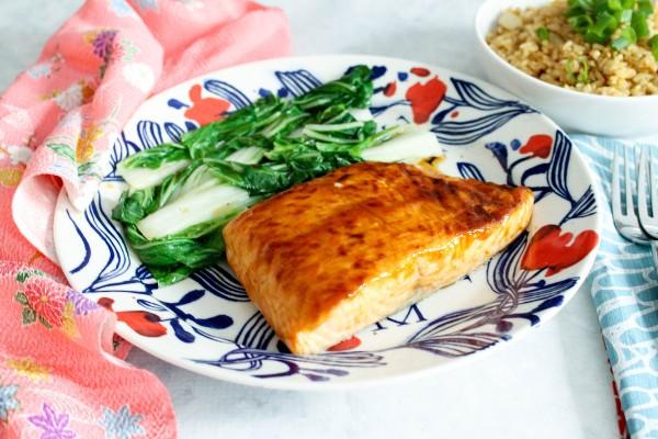 teriyaki glazed salmon with bokchoy